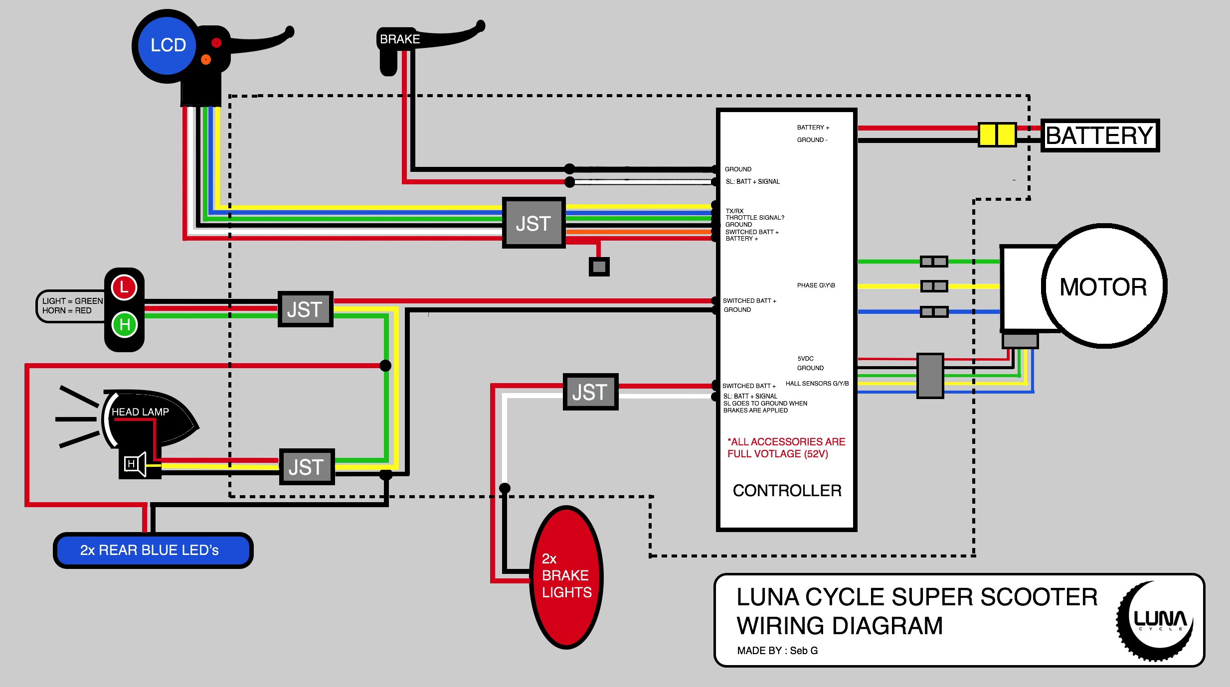 Super Scooter wiring diagram - Electricbike.com Ebike Forum